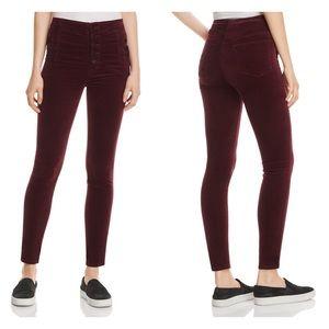 J Brand Natasha Super Skinny Velvet Jeans Mulberry